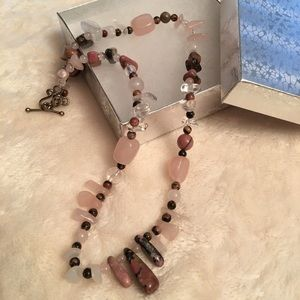 Jewelry - Rose And Clear Quartz Toggle Strand Necklace